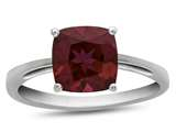 Finejewelers 10k White Gold 7mm Solitaire Cushion-Cut Created Ruby Ring style: R1078304