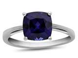 10k White Gold 7mm Cushion Created Sapphire Ring style: R1078305
