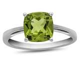 10k White Gold 7mm Cushion Peridot Ring style: R1078308
