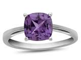 10kt White Gold 7mm Cushion Simulated Alexandrite Ring style: R1078309