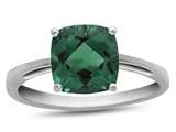 10k White Gold 7mm Cushion Simulated Emerald Ring style: R1078311