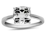 10k White Gold 7mm Cushion White Topaz Ring style: R1078313