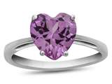 10k White Gold 7mm Heart Shaped Created Pink Sapphire Ring style: R1078603
