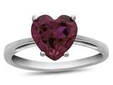 Finejewelers 10k White Gold 7mm Solitaire Heart Shaped Created Ruby Ring style: R1078604