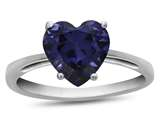 Finejewelers 10k White Gold 7mm Solitaire Heart Shaped Created Sapphire Ring style: R1078605