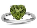 10k White Gold 7mm Heart Shaped Peridot Ring style: R1078608
