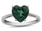 10k White Gold 7mm Heart Shaped Simulated Emerald Ring style: R1078611