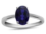 10k White Gold 7x5mm Oval Created Sapphire Ring style: R1078705