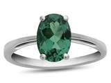10k White Gold 7x5mm Oval Simulated Emerald Ring style: R1078711