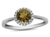 10k White Gold 6mm Round Citrine with White Topaz accent stones Halo Ring style: R1079001