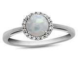 10k White Gold 6mm Round Created Opal with White Topaz accent stones Halo Ring style: R1079002