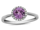 10k White Gold 6mm Round Created Pink Sapphire with White Topaz accent stones Halo Ring style: R1079003