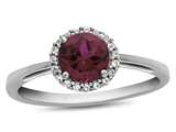 10k White Gold 6mm Round Created Ruby with White Topaz accent stones Halo Ring style: R1079004