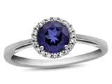10k White Gold 6mm Round Created Sapphire with White Topaz accent stones Halo Ring style: R1079005