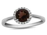 10k White Gold 6mm Round Garnet with White Topaz accent stones Halo Ring style: R1079006