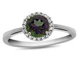 10k White Gold 6mm Round Mystic Topaz with White Topaz accent stones Halo Ring style: R1079007