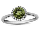10kt White Gold 6mm Round Peridot with White Topaz accent stones Halo Ring style: R1079008