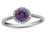 10k White Gold 6mm Round Simulated Alexandrite with White Topaz accent stones Halo Ring style: R1079009