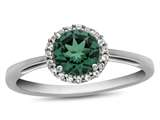 10kt White Gold 6mm Round Simulated Emerald with White Topaz accent stones Halo Ring style: R1079011