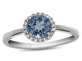 10k White Gold 6mm Round Swiss Blue Topaz with White Topaz accent stones Halo Ring style: R1079012