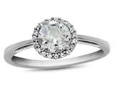 10k White Gold 6mm Round White Topaz with White Topaz accent stones Halo Ring style: R1079013