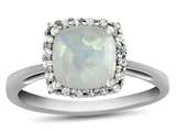 10k White Gold 6mm Cushion Created Opal with White Topaz accent stones Halo Ring style: R1079102