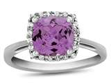 10k White Gold 6mm Cushion Created Pink Sapphire with White Topaz accent stones Halo Ring style: R1079103