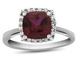 10kt White Gold 6mm Cushion Created Ruby with White Topaz accent stones Halo Ring style: R1079104