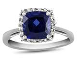 10k White Gold 6mm Cushion Created Sapphire with White Topaz accent stones Halo Ring style: R1079105