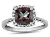 Finejewelers 10k White Gold 6mm Cushion-Cut Mystic Topaz with White Topaz accent stones Halo Ring style: R1079107