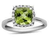 10k White Gold 6mm Cushion Peridot with White Topaz accent stones Halo Ring style: R1079108