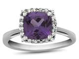 10k White Gold 6mm Cushion Simulated Alexandrite with White Topaz accent stones Halo Ring style: R1079109