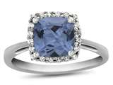 10kt White Gold 6mm Cushion Simulated Aquamarine with White Topaz accent stones Halo Ring style: R1079110