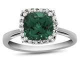 10k White Gold 6mm Cushion Simulated Emerald with White Topaz accent stones Halo Ring style: R1079111