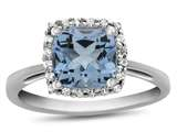 10k White Gold 6mm Cushion Swiss Blue Topaz with White Topaz accent stones Halo Ring style: R1079112