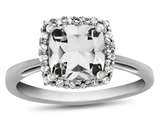 10kt White Gold 6mm Cushion White Topaz with White Topaz accent stones Halo Ring style: R1079113