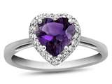 10k White Gold 6mm Heart Shaped Amethyst with White Topaz accent stones Halo Ring style: R1079200
