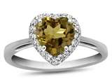 10k White Gold 6mm Heart Shaped Citrine with White Topaz accent stones Halo Ring style: R1079201