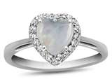 10k White Gold 6mm Heart Shaped Created Opal with White Topaz accent stones Halo Ring style: R1079202