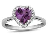 10k White Gold 6mm Heart Shaped Created Pink Sapphire with White Topaz accent stones Halo Ring style: R1079203