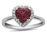 10k White Gold 6mm Heart Shaped Created Ruby with White Topaz accent stones Halo Ring style: R1079204