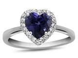 10k White Gold 6mm Heart Shaped Created Sapphire with White Topaz accent stones Halo Ring style: R1079205