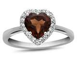 Finejewelers 10k White Gold 6mm Heart Shaped Garnet with White Topaz accent stones Halo Ring style: R1079206