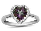 10k White Gold 6mm Heart Shaped Mystic Topaz with White Topaz accent stones Halo Ring style: R1079207