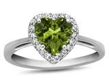 10k White Gold 6mm Heart Shaped Peridot with White Topaz accent stones Halo Ring style: R1079208
