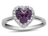 10k White Gold 6mm Heart Shaped Simulated Alexandrite with White Topaz accent stones Halo Ring style: R1079209