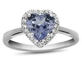 10k White Gold 6mm Heart Shaped Simulated Aquamarine with White Topaz accent stones Halo Ring style: R1079210