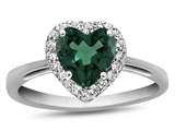 10k White Gold 6mm Heart Shaped Simulated Emerald with White Topaz accent stones Halo Ring style: R1079211