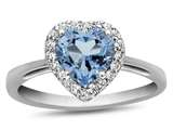 10k White Gold 6mm Heart Shaped Swiss Blue Topaz with White Topaz accent stones Halo Ring style: R1079212