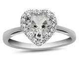 10kt White Gold 6mm Heart Shaped White Topaz with White Topaz accent stones Halo Ring style: R1079213